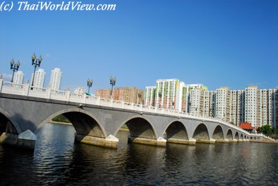 The lek yuen bridge spans over the 200m wide shing mun river and is